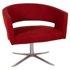 Montis Turner Fabric Armchair Red Metal Swivel
