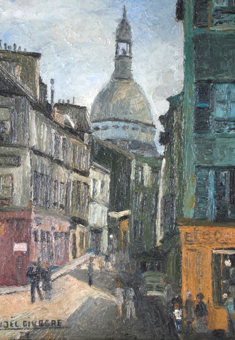 French painting, oil on Masonite, depicts people strolling the historic streets of Montmartre at the corner of Place Jean-Baptiste Clémente and Rue Norvins. On the corner is a French bakery. In the background, down Rue Norins, is the dome of the