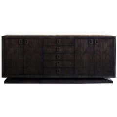 Montpelier Side Cabinet, High Gloss Sycamore Black and Antiqued Brass