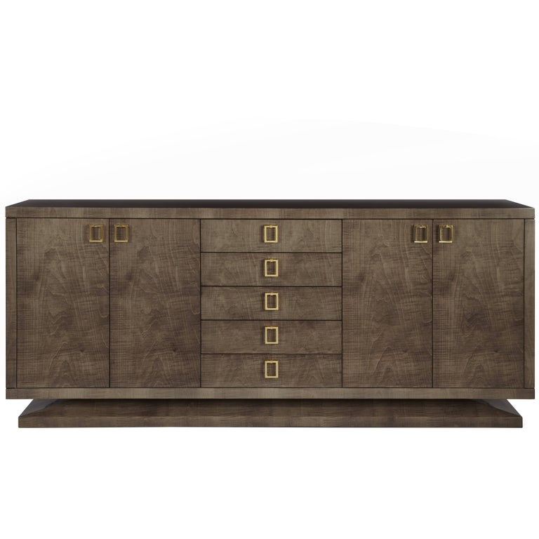 Montpelier Side Cabinet, Satin Sycamore Dusk and Polished Brass