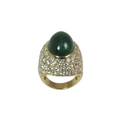 Montreaux 18 Karat Yellow Gold and Platinum Cabochon Emerald and Diamond Ring