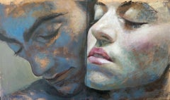 1-9-15 Diptych - 21st Cent, Contemporary, Portrait Painting, Oil on Wood Panel