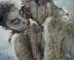 5-4-14 Diptych- 21st Cent, Contemporary, Portraits, Nude Painting, Oil on Canvas