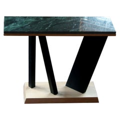 Montserrat White Oak And Emerald Green Marble Console Table