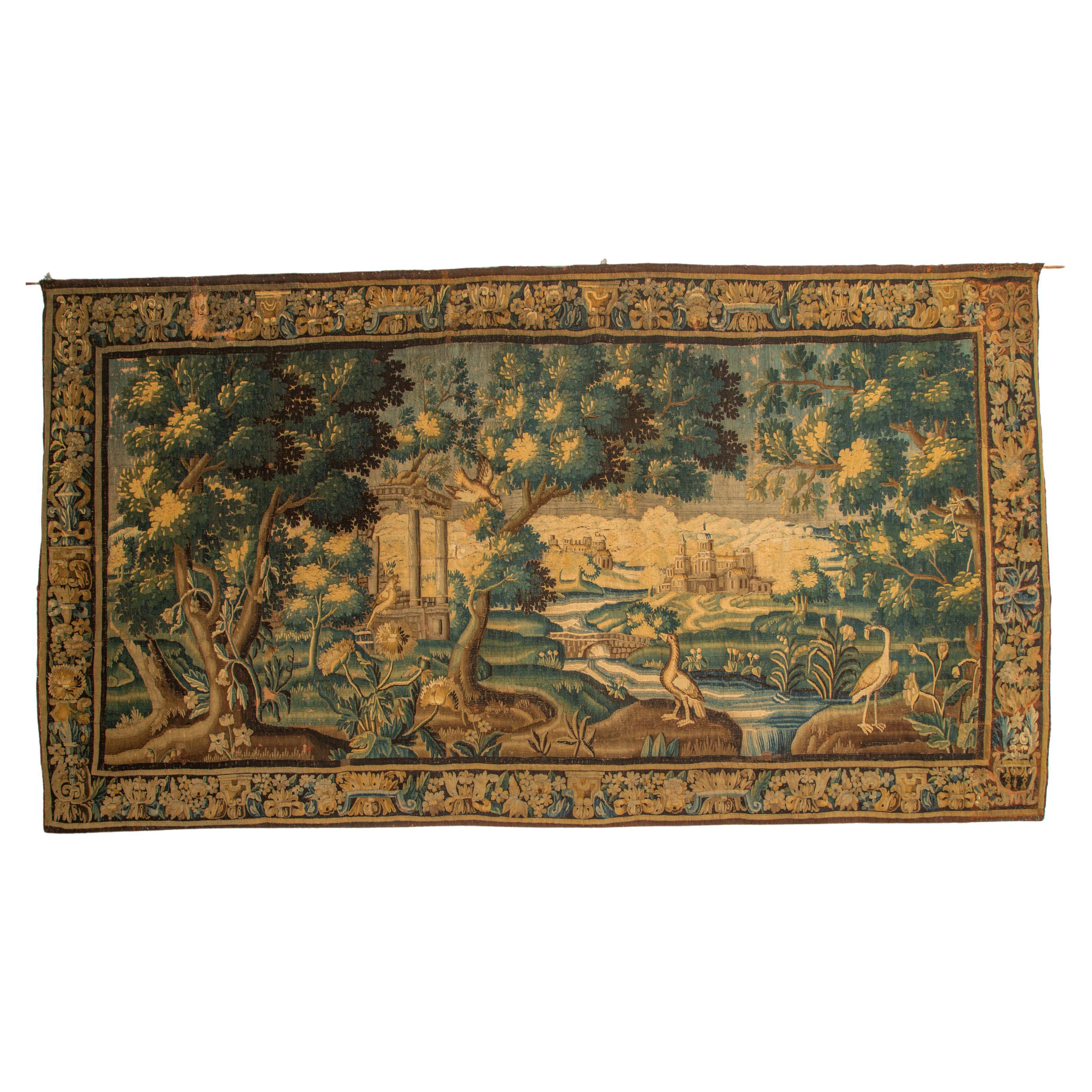 Monumental 18th Century Flemish Verdure Tapestry