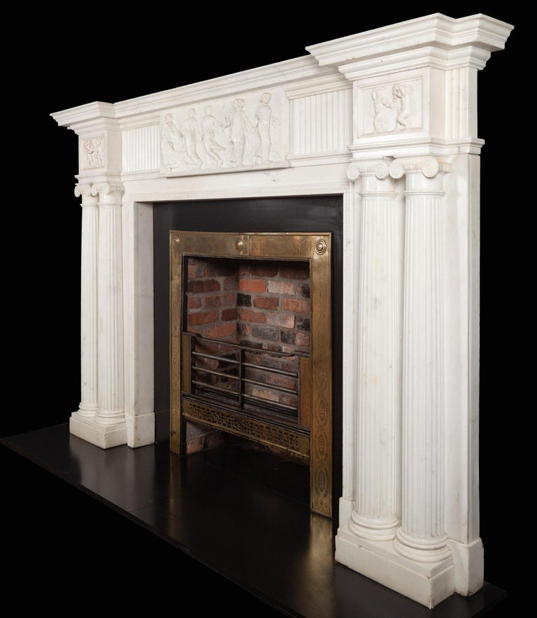 Monumental 18th Century Marble Fireplace For Sale 3