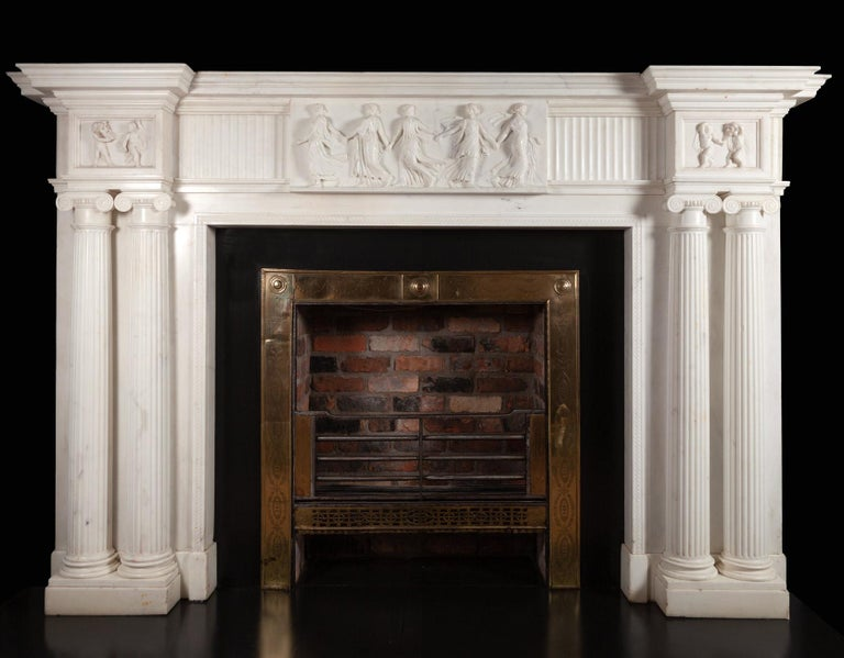 Monumental 18th Century Marble Fireplace For Sale 4