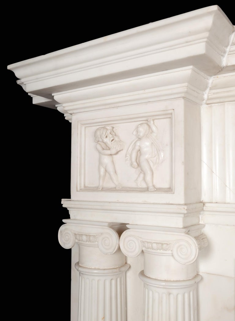Georgian Monumental 18th Century Marble Fireplace For Sale