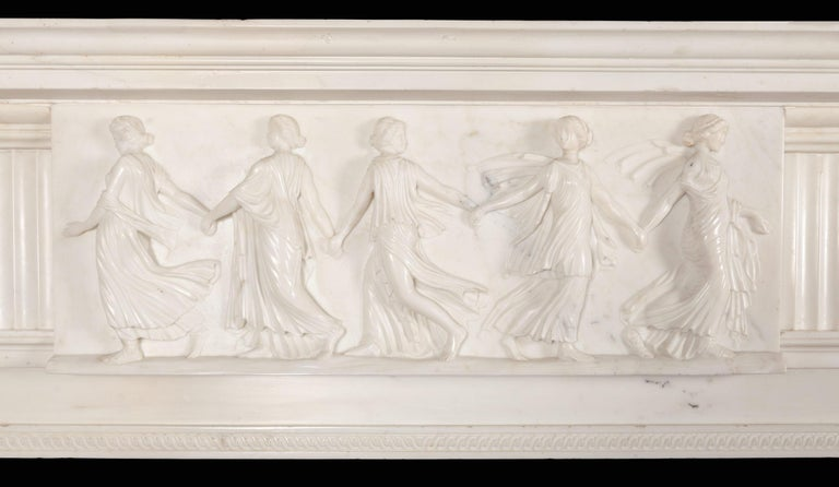 Carved Monumental 18th Century Marble Fireplace For Sale