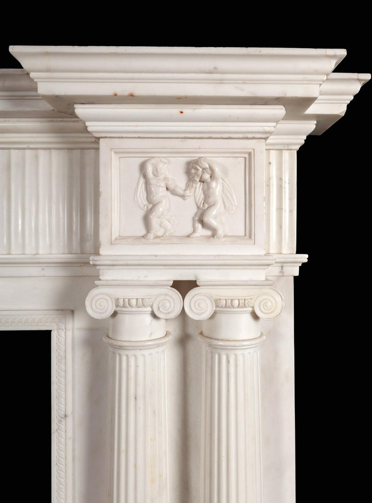 Statuary Marble Monumental 18th Century Marble Fireplace For Sale