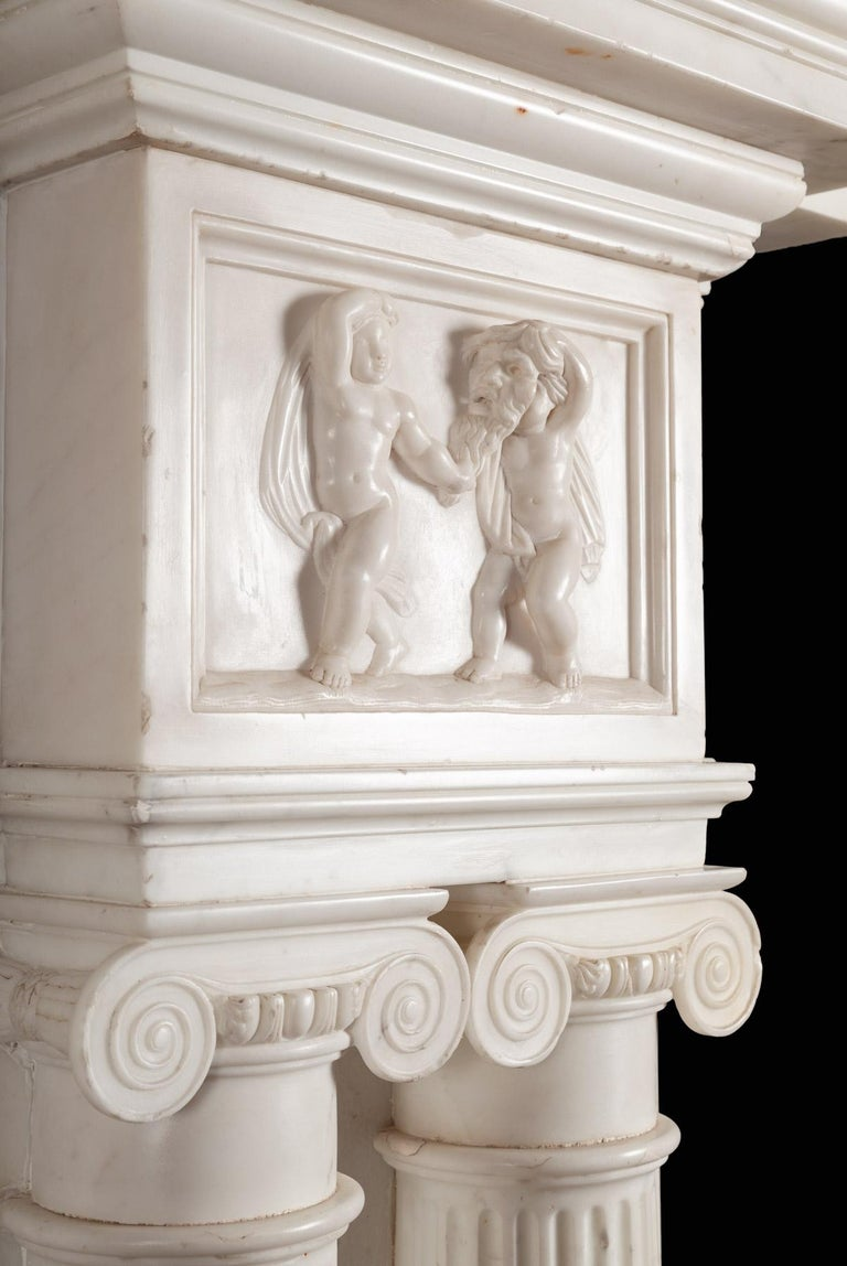 Monumental 18th Century Marble Fireplace For Sale 1
