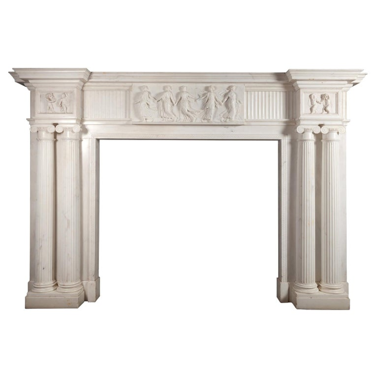 Monumental 18th Century Marble Fireplace For Sale