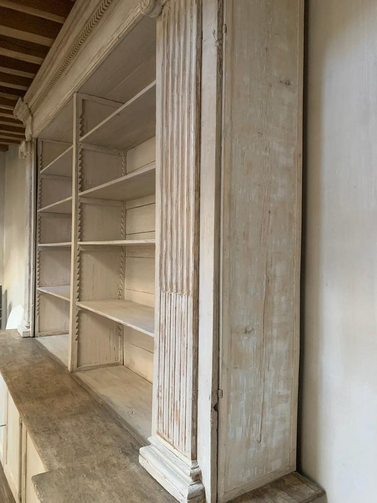 Hand-Crafted Monumental 18th Century Open Library Bookcase For Sale
