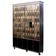 Monumental 1905 Vintage Industrial Raw Steel Court House File Cabinet Wall-Unit
