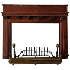 Monumental 1920s Solid Walnut Carved Fire Surround