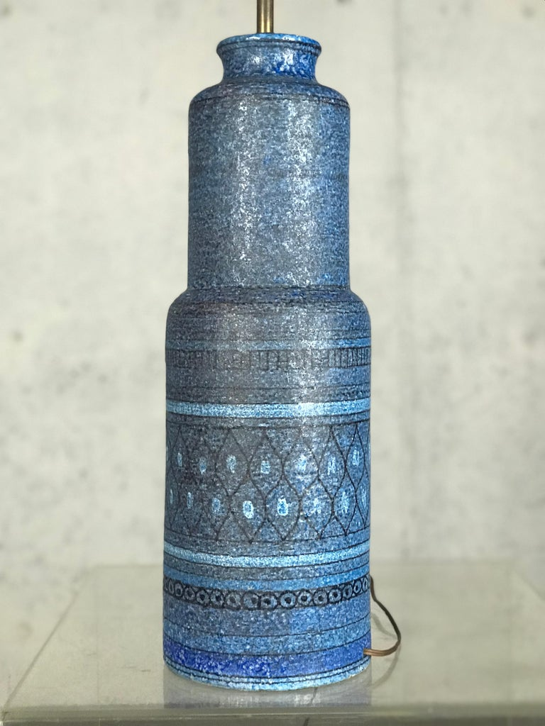 Monumental 1960s Italian Ceramic Table Lamp by Bitossi for Raymor In Good Condition For Sale In St.Petersburg, FL