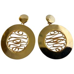 Monumental 1980's French Gold Disk/Hoop Statement Earrings