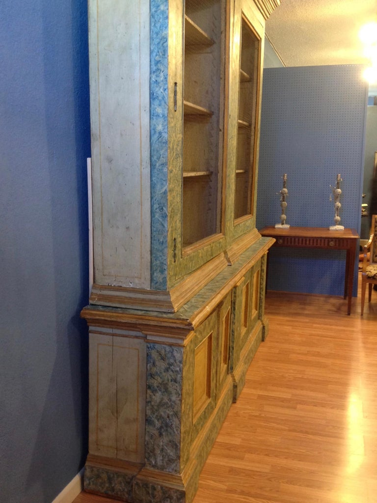 Hand-Painted Monumental 19th Century Biblioteque For Sale