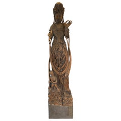 Monumental 19th Century Chinese Hand Carved Quan Yin Deity