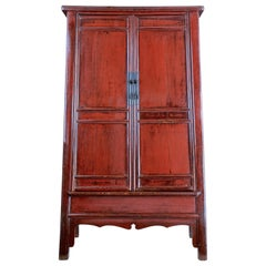 Monumental 19th Century Chinese Red Lacquer Cupboard