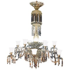 Monumental 19th Century Crystal & Lalique Style Neoclassical Chandelier