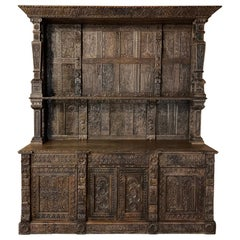 Monumental 19th Century Renaissance English Two-Tiered Open Bookcase