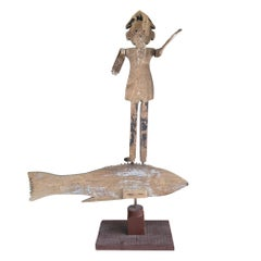 Monumental 19th Century Fisherman Atop Fish Double Whirligig Weather Vane
