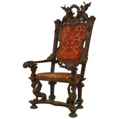 Monumental 19th Century French Empire Style Carved Walnut Throne Chair