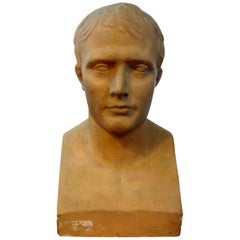 Monumental 19th Century French Patinated Plaster Bust of Napoleon