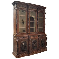 Monumental 19th Century French Renaissance Hunt Bookcase