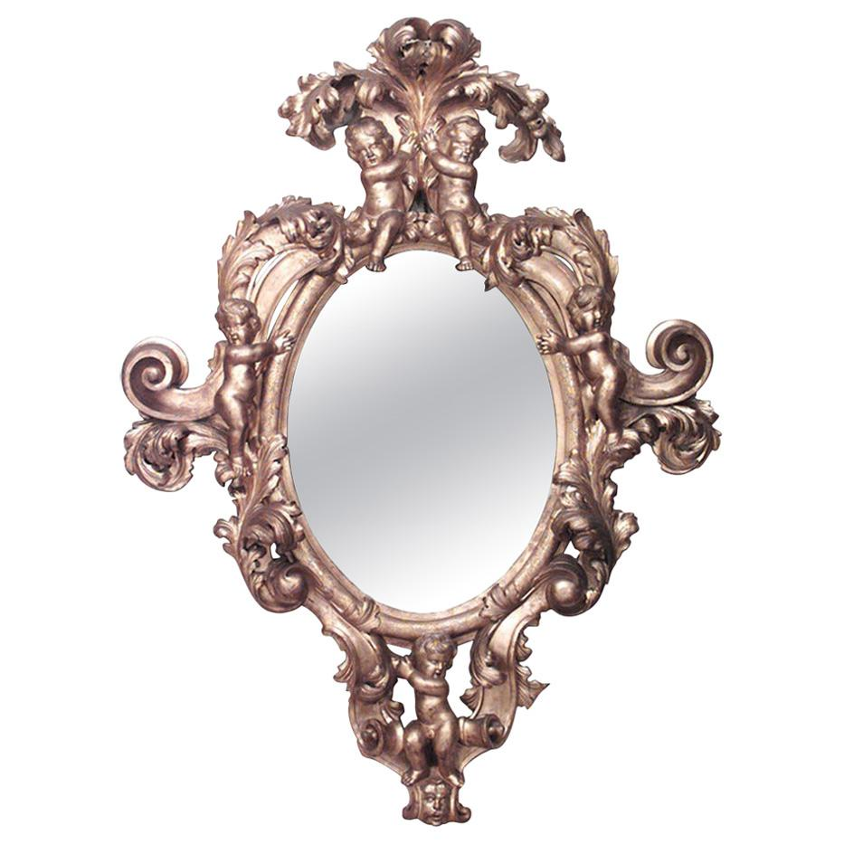 Monumental 19th Century French Rococo Style Gilt Carved Wall Mirror