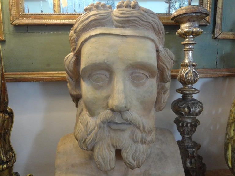 Monumental 19th Century French Terracotta Bust of a Classical Greek In Good Condition For Sale In Houston, TX