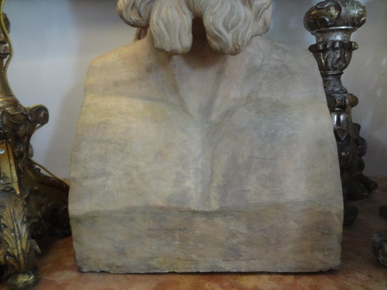 Monumental 19th Century French Terracotta Bust of a Classical Greek For Sale 1