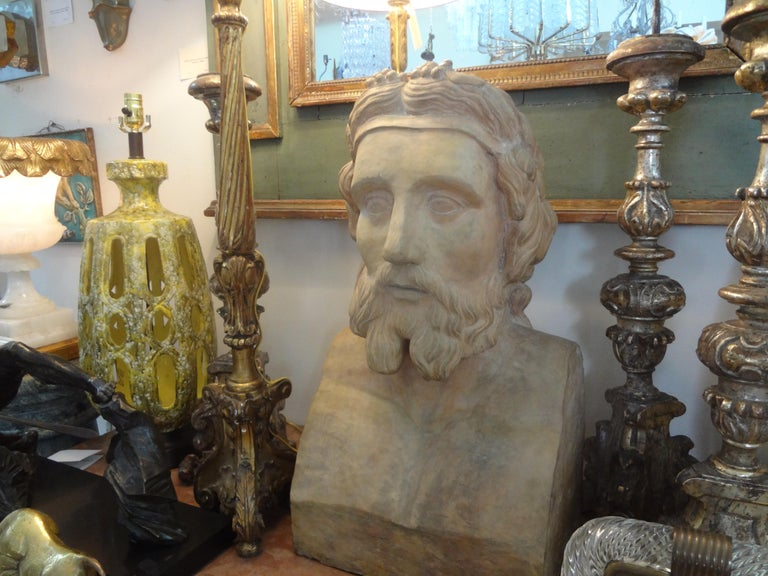 Monumental 19th Century French Terracotta Bust of a Classical Greek For Sale 2