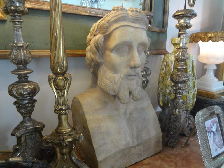 Monumental 19th Century French Terracotta Bust of a Classical Greek For Sale 3