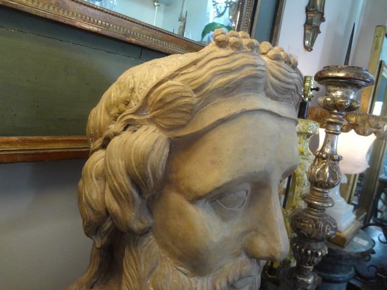 Monumental 19th Century French Terracotta Bust of a Classical Greek For Sale 4