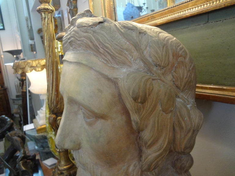 Monumental 19th Century French Terracotta Bust of a Classical Greek For Sale 5