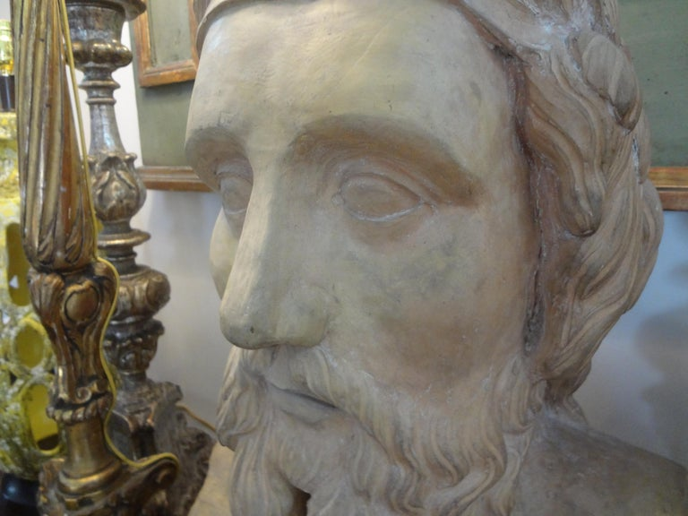 Monumental 19th Century French Terracotta Bust of a Classical Greek For Sale 6