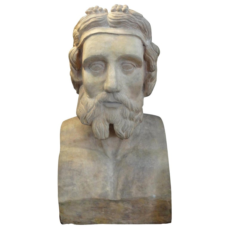 Monumental 19th Century French Terracotta Bust of a Classical Greek For Sale