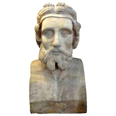 Monumental 19th Century French Terracotta Bust of a Classical Greek