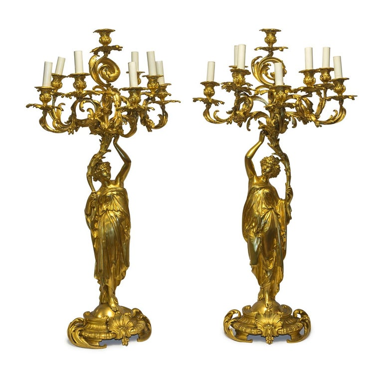 Monumental 19th Century French Three-Piece Ormolu Clock Garniture In Good Condition For Sale In New York, NY
