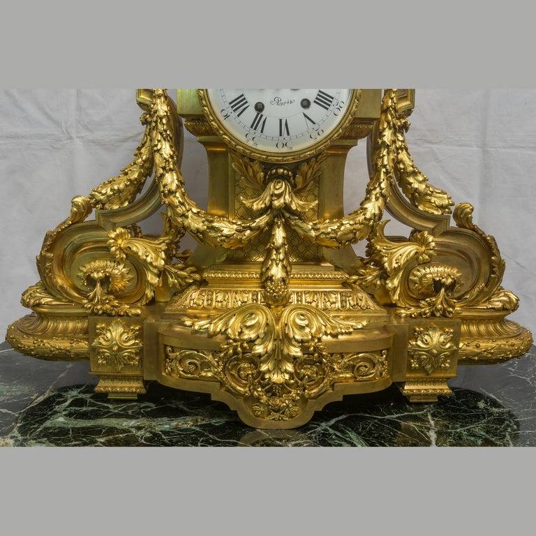 Monumental 19th Century French Three-Piece Ormolu Clock Garniture For Sale 4