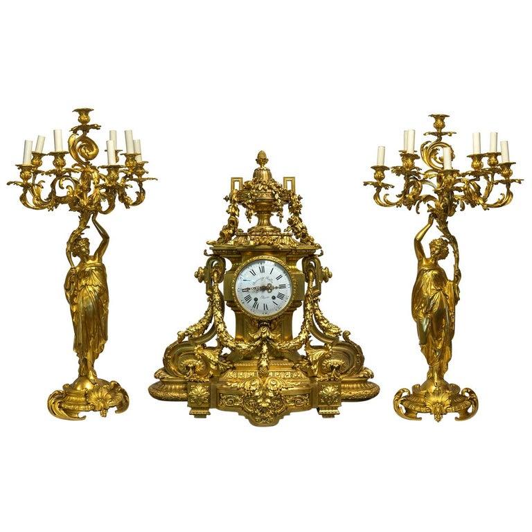Monumental 19th Century French Three-Piece Ormolu Clock Garniture For Sale