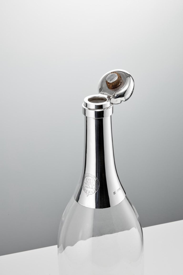 Monumental 19th Century Glass and Sterling Silver Novelty Champagne Bottle, 1892 In Good Condition For Sale In London, GB