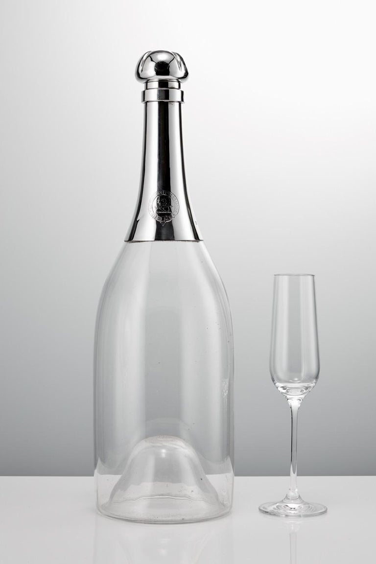 Monumental 19th Century Glass and Sterling Silver Novelty Champagne Bottle, 1892 For Sale 3