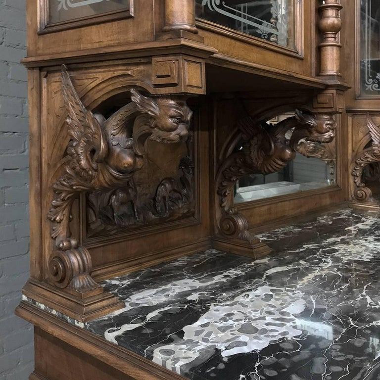 Late 19th Century Monumental 19th Century Italian Walnut Marble Top Two-Tiered Hunt Display Buffet For Sale