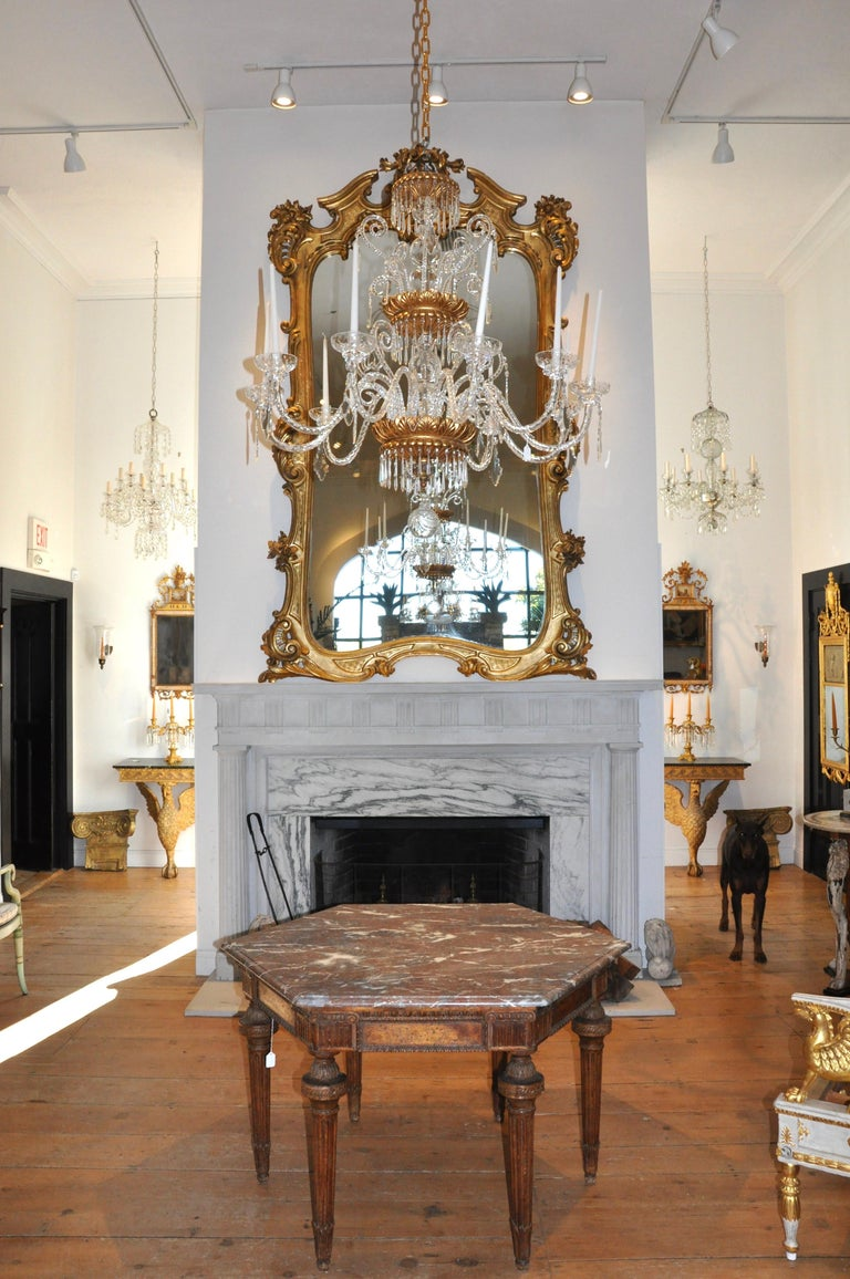 Monumental 19th Century Louis XV Style Gilt Pier Mirror In Good Condition For Sale In Essex, MA