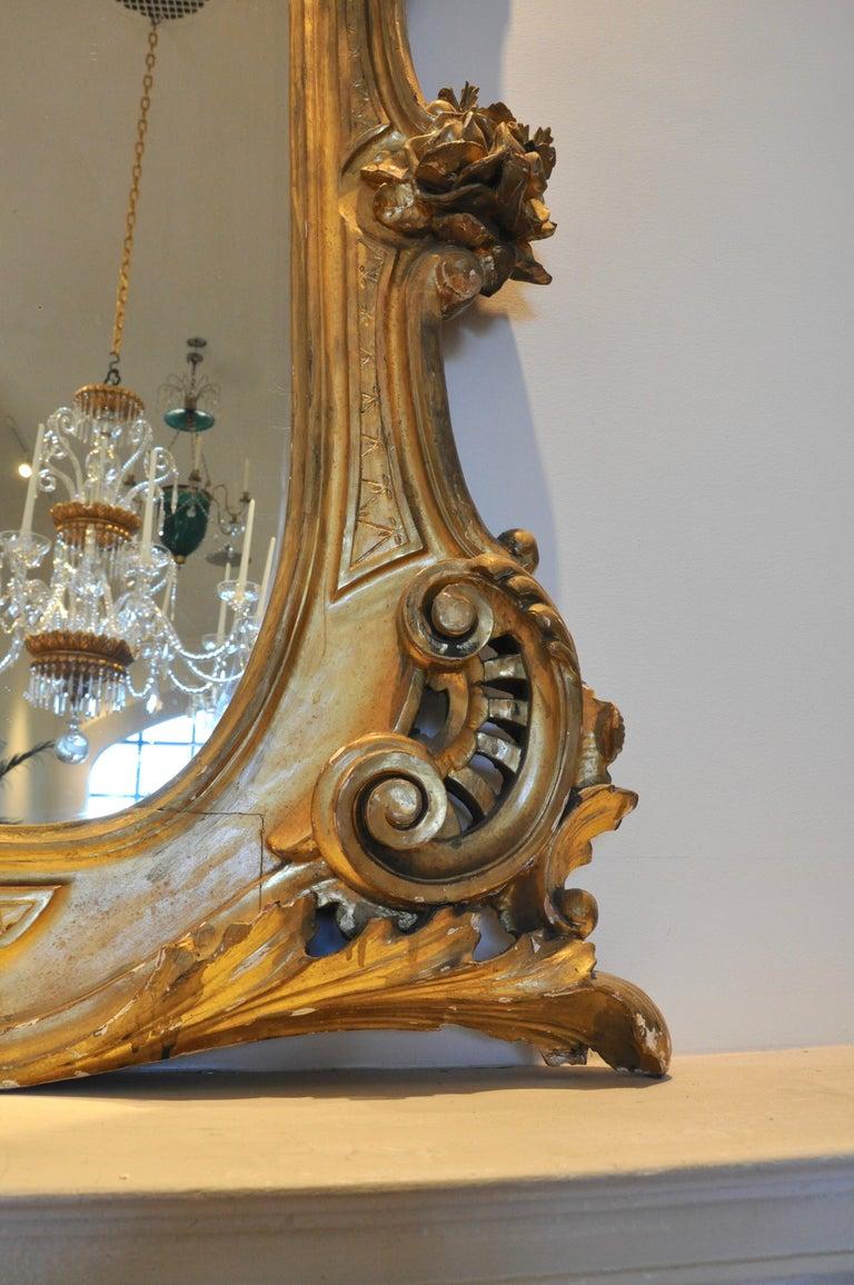 Monumental 19th Century Louis XV Style Gilt Pier Mirror For Sale 1