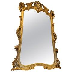 Monumental 19th Century Louis XV Style Gilt Pier Mirror