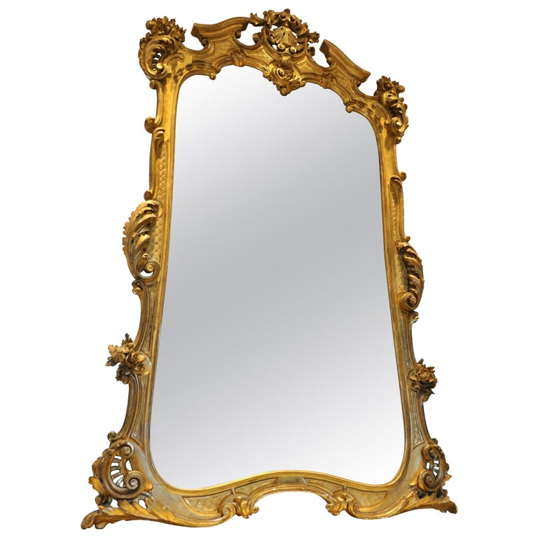 Monumental 19th Century Louis XV Style Gilt Pier Mirror For Sale